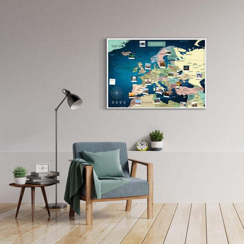 A1 Mapa Europy do Oznaczania Podróży Niebieska Deep Blue rama biała