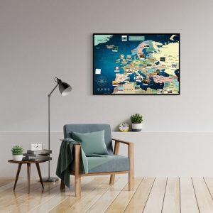 A1 Mapa Europy do Oznaczania Podróży Niebieska Deep Blue rama czarna