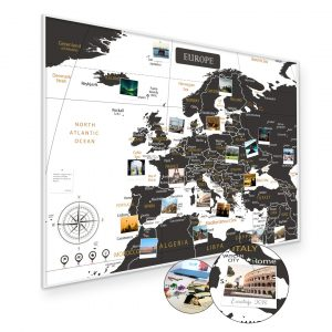 A1 Mapa Podróży Europy na ścianę do zaznaczania miejsc biało czarna rama biała