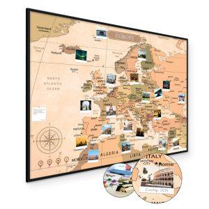Mapa Europy na ścianę do oznaczania podróży