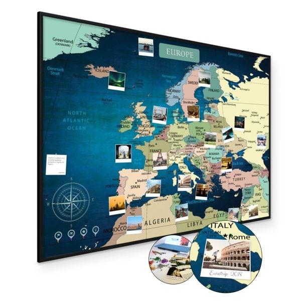 A1 Mapa Podróży Europy na ścianę do zaznaczania miejsc niebieska deep blue rama czarna