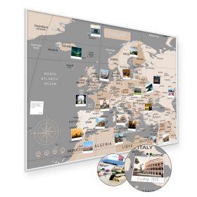A1 Mapa Podróży Europy na ścianę do zaznaczania miejsc pastelowa rama biała