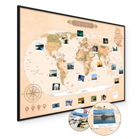 Mapa świata na ścianę do oznaczania podróży