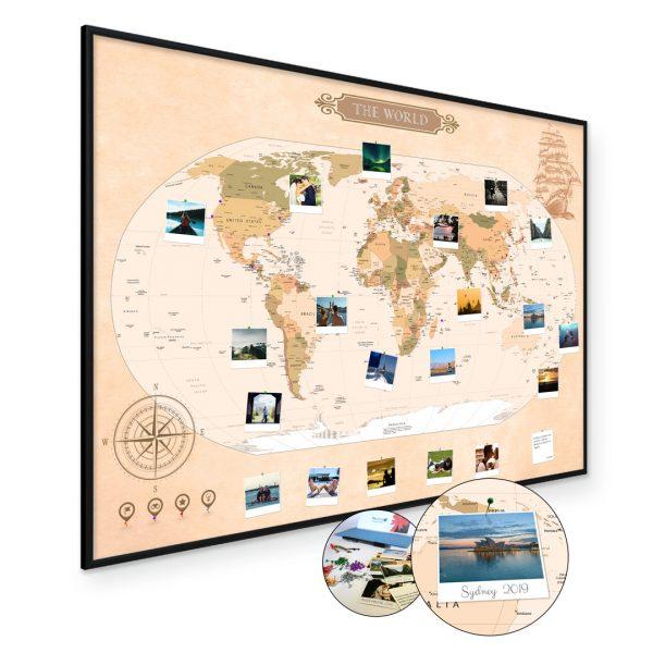 Mapa Podróży Mapa Świata na ścianę do zaznaczania miejsc klasyczna rama czarna A1