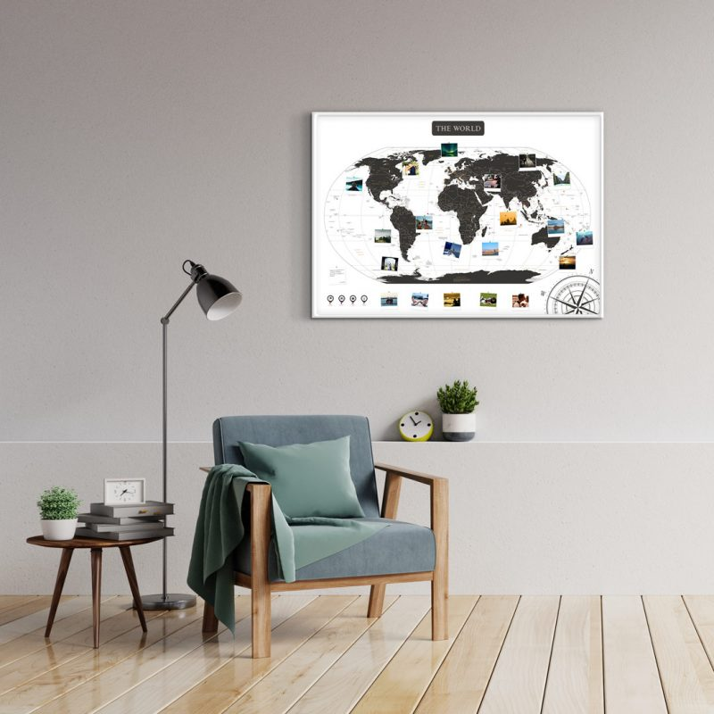 A1 Mapa Świata do Oznaczania Podróży Biało Czarna rama biała