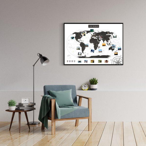 A1 Mapa Świata do Oznaczania Podróży Biało Czarna rama czarna