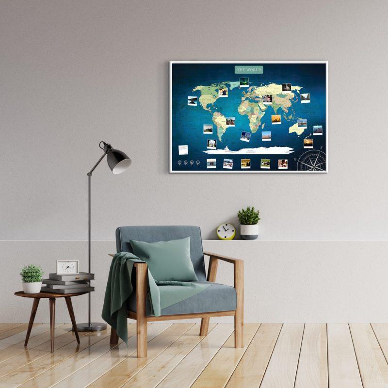 A1 Mapa Świata do Oznaczania Podróży Niebieska Deep Blue rama biała