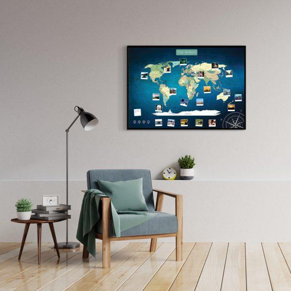 A1 Mapa Świata do Oznaczania Podróży Niebieska Deep Blue rama czarna