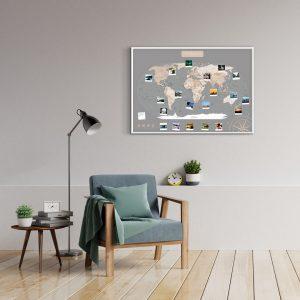 A1 Mapa Świata do Oznaczania Podróży Pastelowa rama biała