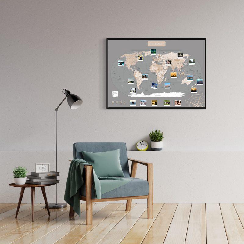 A1 Mapa Świata do Oznaczania Podróży Pastelowa rama czarna