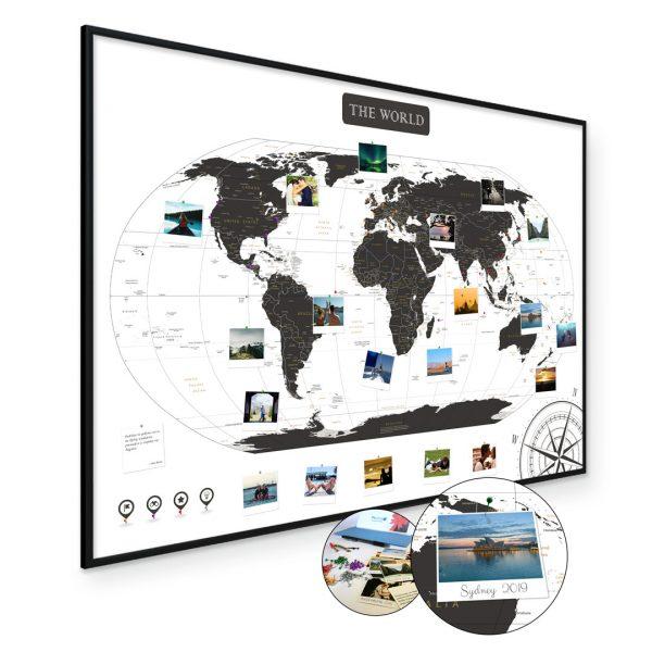 A1 Mapa Podróży Świat na ścianę do zaznaczania miejsc biało czarna rama czarna