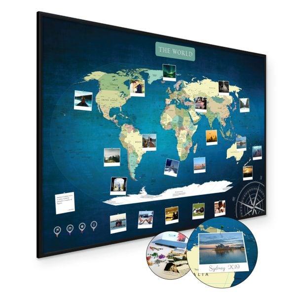 A1 Mapa Podróży Świat na ścianę do zaznaczania miejsc niebieska deep blue rama czarna