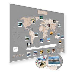 A1 Mapa Podróży Świat na ścianę do zaznaczania miejsc pastelowa rama biała