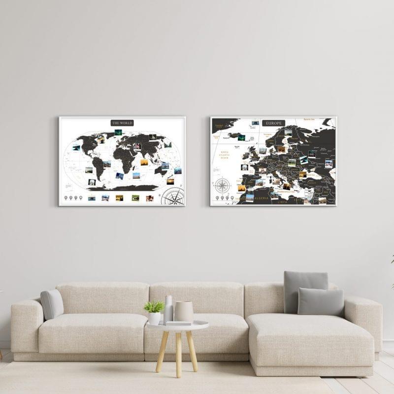 A1 Zestaw Map Podróży Europa i Świat Biało czarna - rama biała