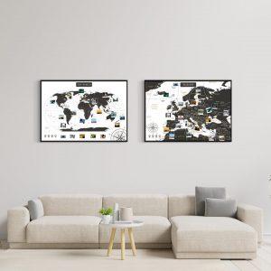 A1 Zestaw Map Podróży Europa i Świat Biało czarna - rama czarna