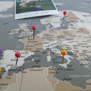 Mapa Podróży Mapa Świata na ścianę do zaznaczania miejsc pastelowa