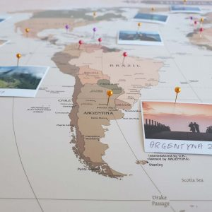 Korkowa Mapa Podróży na ścianę do zaznaczania miejsc